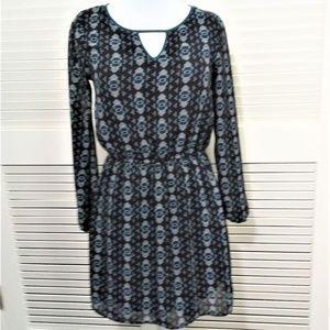 Xhilaration Boho Style Black & Teal Lined Dress SP